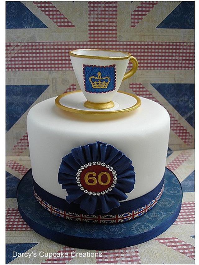 """Diamond Jubilee 6"""" cake & teacup"""