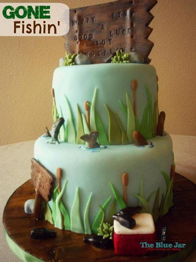 Montana Fishing Themed Army ETS Cake