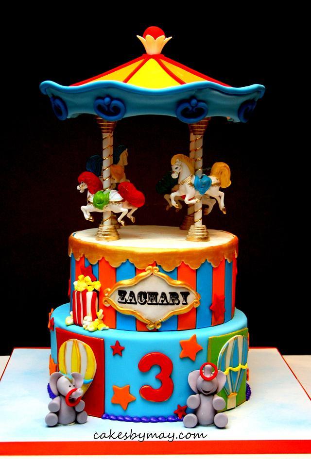 Magnificent Carnival Carousel Birthday Cake Cake By Cakes By Cakesdecor Personalised Birthday Cards Akebfashionlily Jamesorg