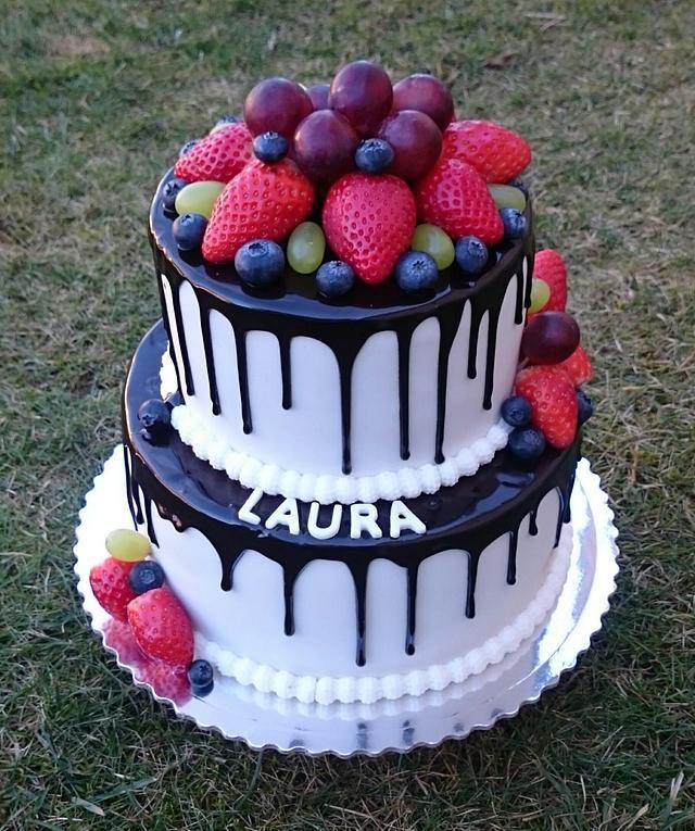 Cool Birthday Cake With Fresh Fruit Cake By Andycake Cakesdecor Personalised Birthday Cards Veneteletsinfo