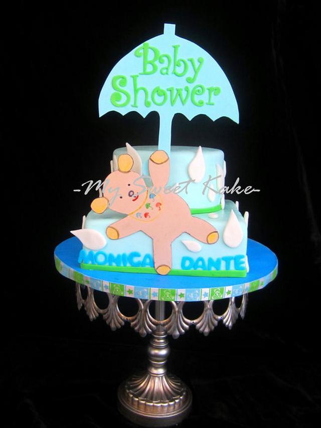 Umbrella Bear Baby Shower Cake