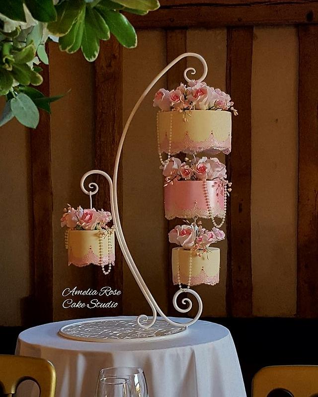 Pink and Ivory chandelier cake