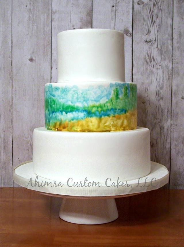 Hand painted Acadia wedding cake