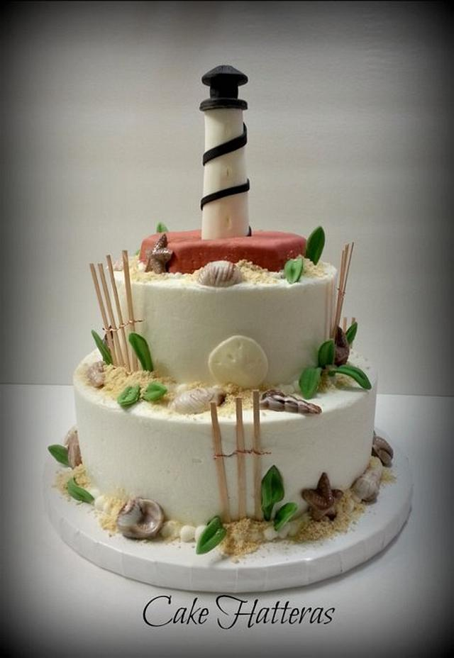 Cape Hatteras Lighthouse Wedding Cake for a beach wedding