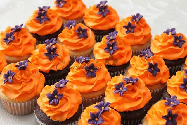 Orange and Purple Cupcakes