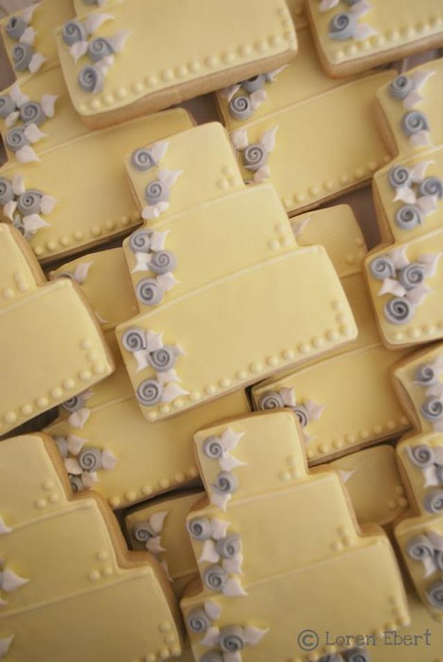 Yellow & Gray Wedding Cake Cookies!