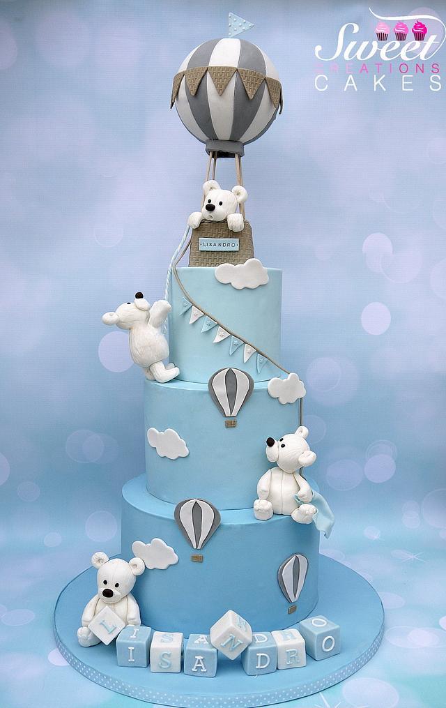 Bears Hot air balloon Baptism cake