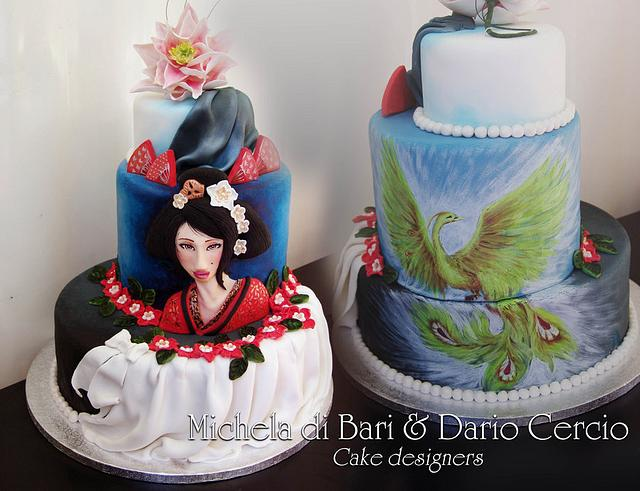 Astounding Geisha And Phoenix Cake By Michela Di Bari Cakesdecor Funny Birthday Cards Online Barepcheapnameinfo