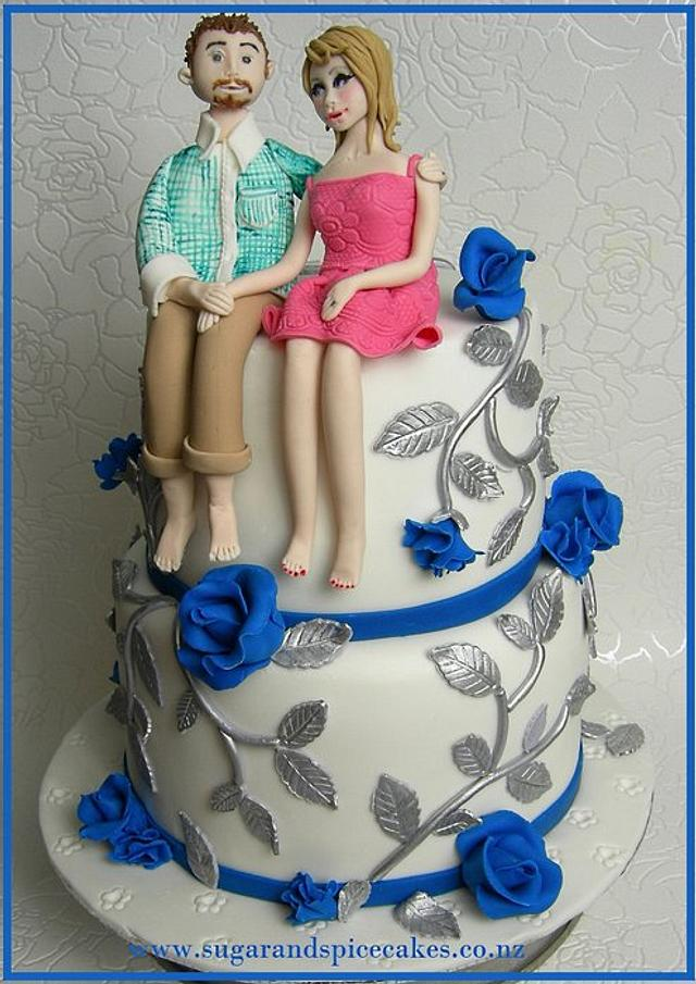Silver Wedding Cake with personalised Bride & Groom topper