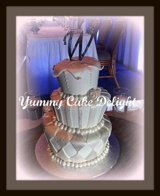 Whimsical yet elegant topsy turvy wedding cake
