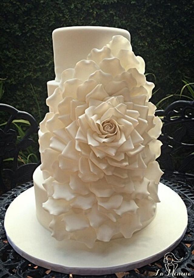 Oversized Rose Wedding Cake