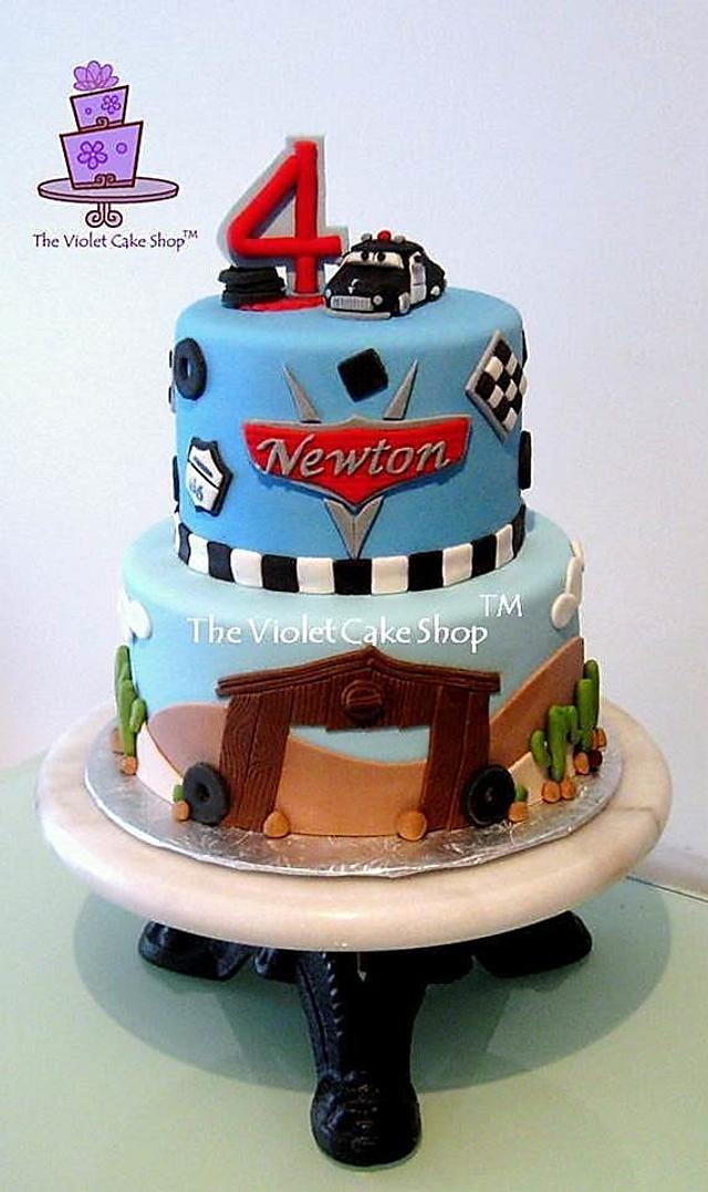 Cars Cake for Newton Featuring SHERIFF