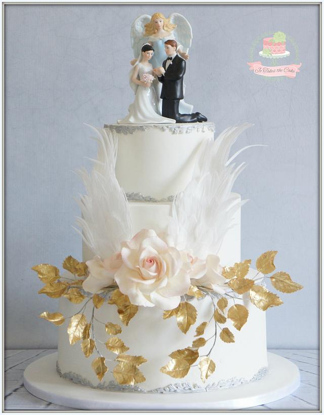 Angel wedding cake and cupcakes