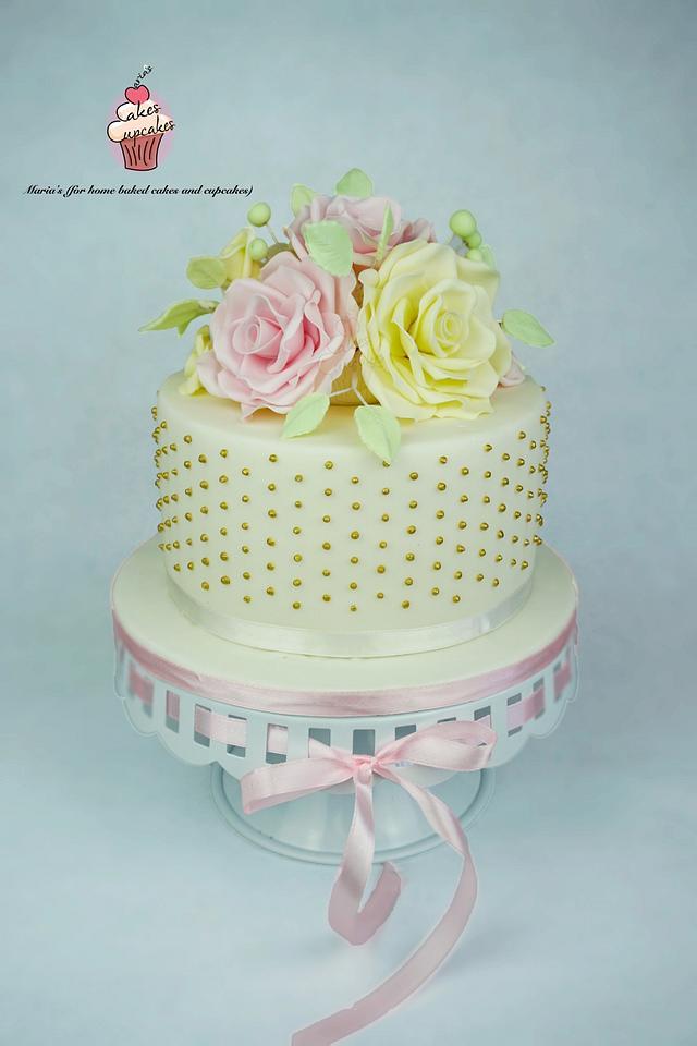 Fantastic Elegant Birthday Cake Cake By Marias Cakesdecor Personalised Birthday Cards Veneteletsinfo