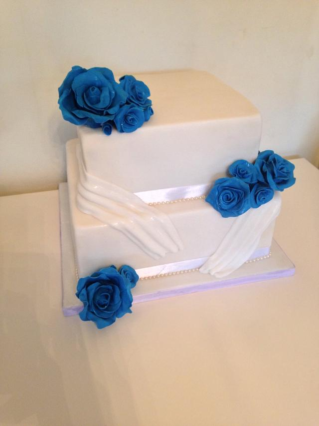 In the blue wedding cake