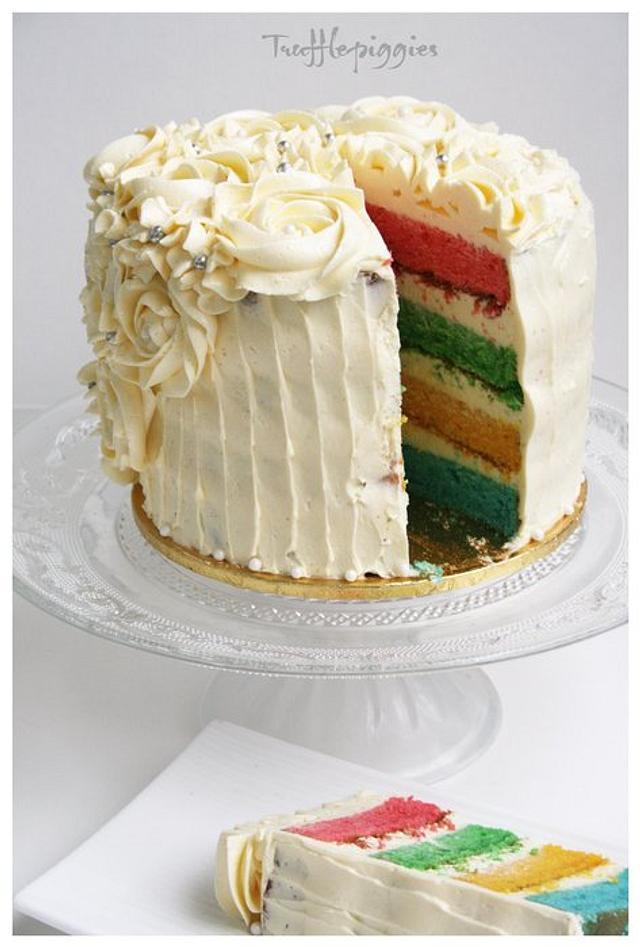 Rainbow rose cake