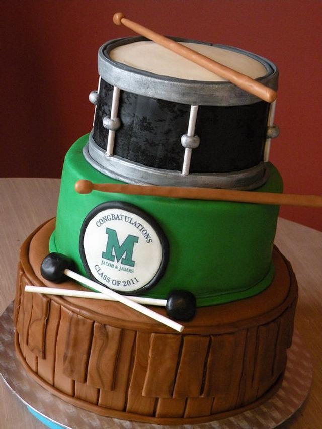"""band"" theme graduation cake"