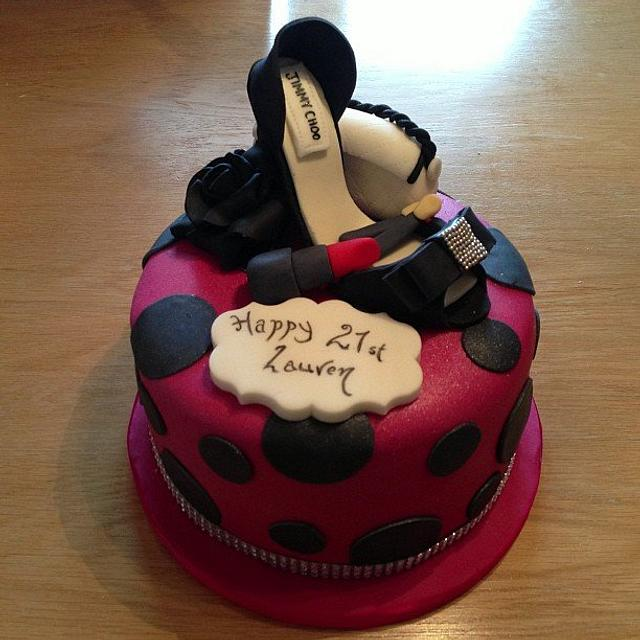 Cool 21St Birthday Cake For A Girly Girl Cake By Amy Cakesdecor Personalised Birthday Cards Veneteletsinfo
