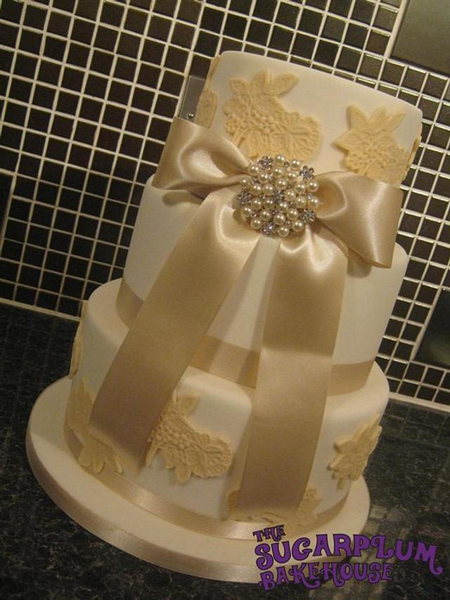 3 Tier Vintage Inspired Lace Wedding Cake