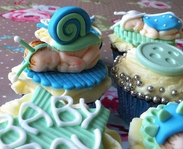 Baby shower baby cupcakes