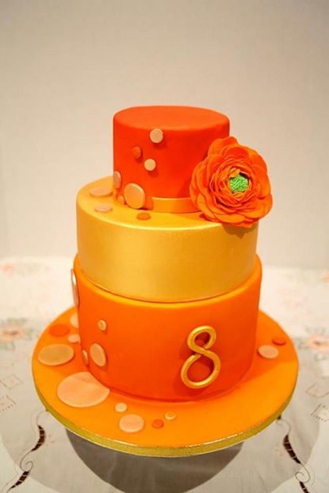 Remarkable Orange And Gold Birthday Cake Cake By Kasserina Cakes Cakesdecor Funny Birthday Cards Online Aeocydamsfinfo