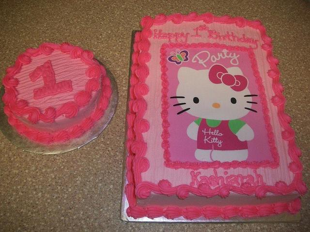 Astounding Hello Kitty First Birthday Cake By Caymancake Cakesdecor Funny Birthday Cards Online Inifodamsfinfo