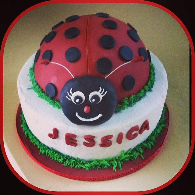 Astounding Ladybug Birthday Cake Cake By Michelle Allen Cakesdecor Personalised Birthday Cards Veneteletsinfo