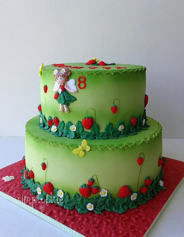 Strawberry garden cake
