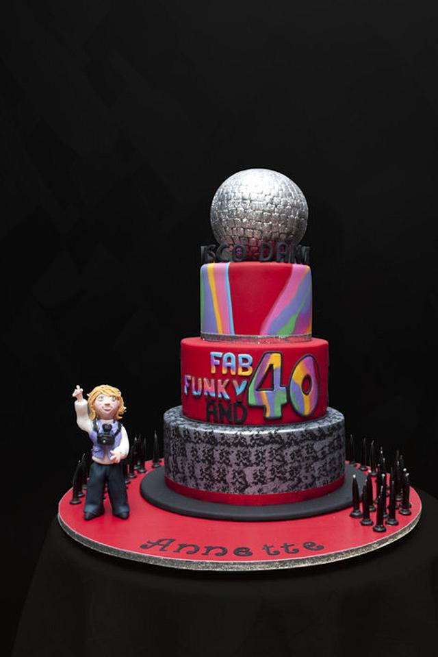Terrific Disco Dance 40Th Birthday Cake Cake By Julie Anne White Cakesdecor Funny Birthday Cards Online Hendilapandamsfinfo