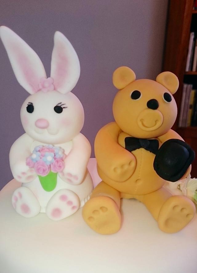 Bunny and Bear Flower Cascade Wedding Cake