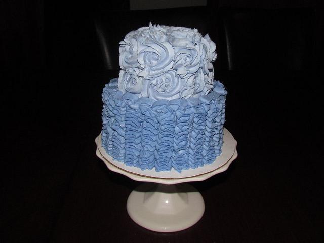 Purple Ruffles and Roses Cake