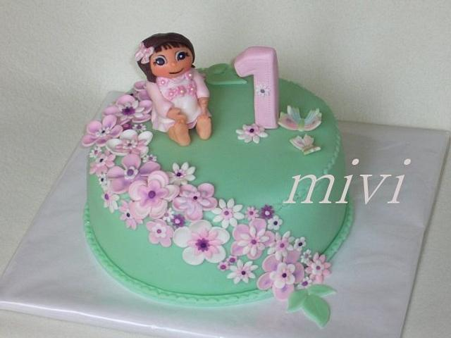 cake with a doll