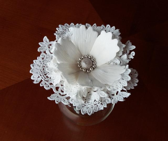Sugar paste fantasy flower with sugar lace