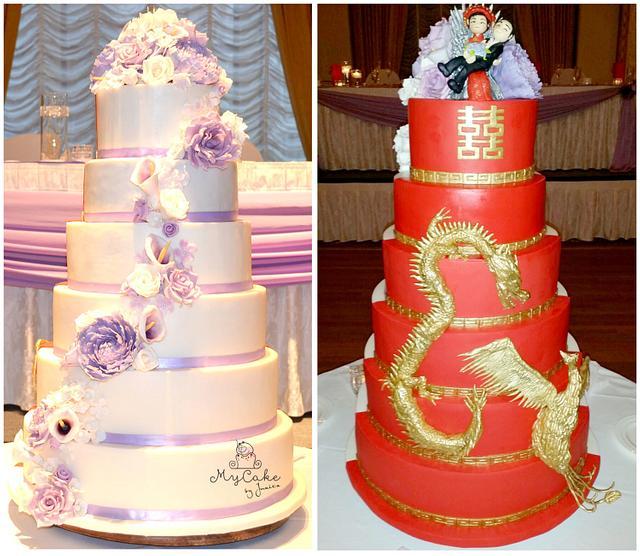 Dual Wedding Cake Eastern meet Western