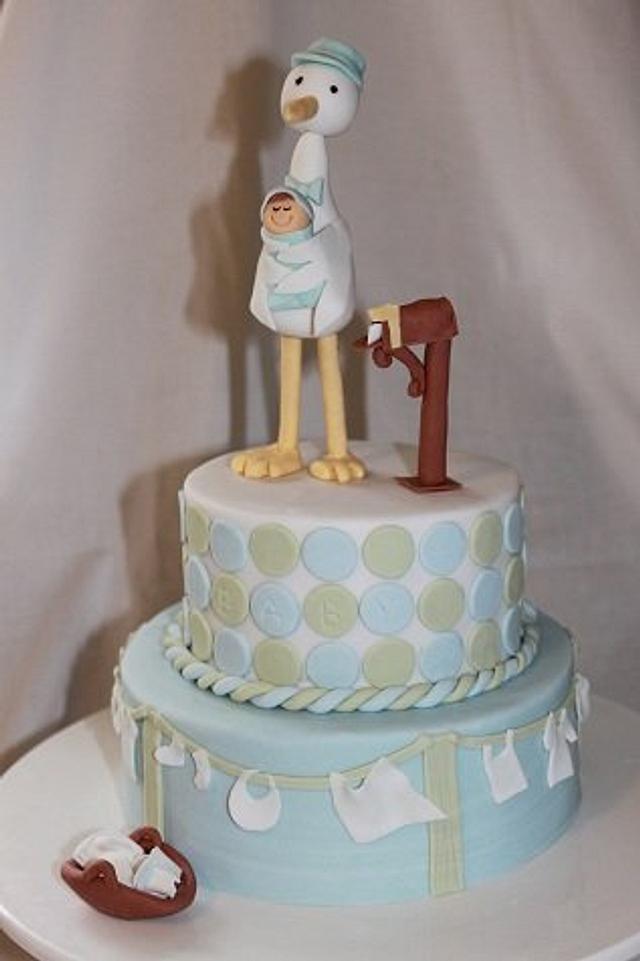 Stork delivery baby shower cake