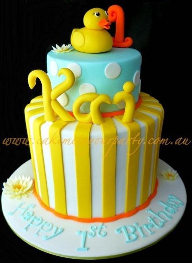 Amazing Rubber Ducky Cake 1St Birthday Cake By Leah Jeffery Cakesdecor Funny Birthday Cards Online Inifodamsfinfo