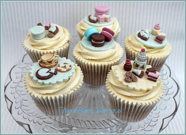 Handpainted Tea Set & Mini Cake Selection Cupcakes