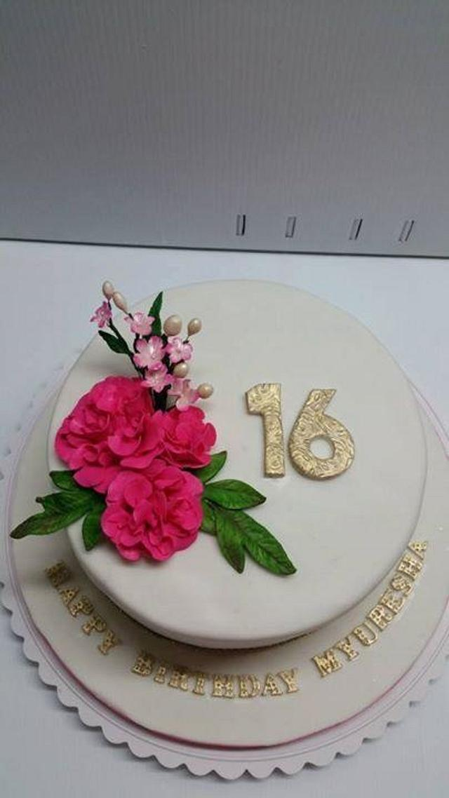 Fine Simple And Elegant 16Th Birthday Cake Cake By Saranya Cakesdecor Funny Birthday Cards Online Bapapcheapnameinfo