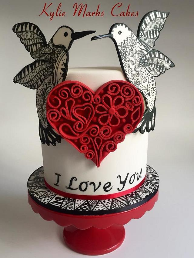 Valentines Cake 2016 - Zentangle inspired and quilling