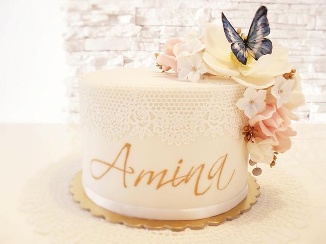 flower cake,christening