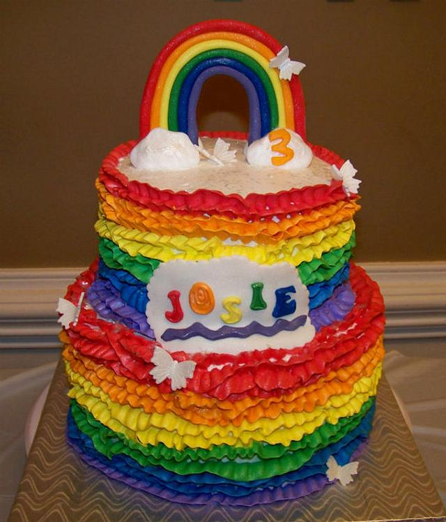 Rainbow ruffle cake