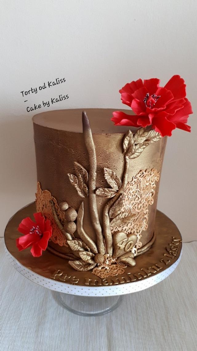 Amazing Golden Birthday Cake By Kaliss Cakesdecor Personalised Birthday Cards Epsylily Jamesorg