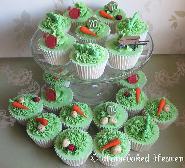 Gardening-themed cupcakes