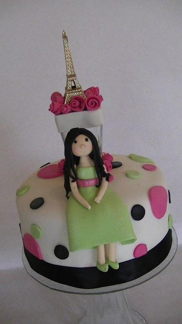 Awesome Paris Themed Birthday Cake And Cupcakes Cake By Fusion Cakesdecor Funny Birthday Cards Online Fluifree Goldxyz