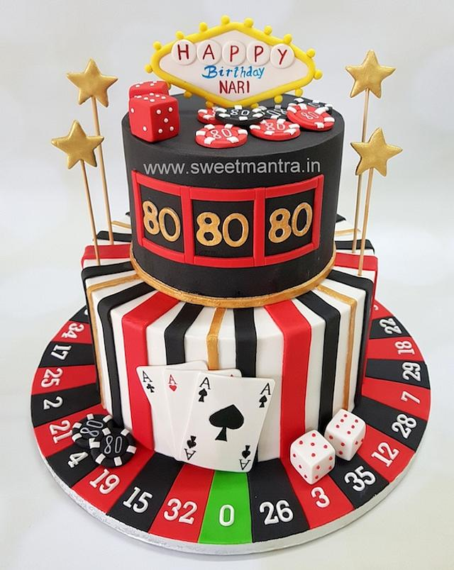 Terrific Las Vegas Theme 2 Tier Fondant Cake For 80Th Birthday Cakesdecor Funny Birthday Cards Online Fluifree Goldxyz