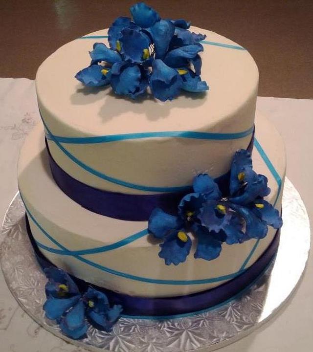 Iris sugar flower birthday cake