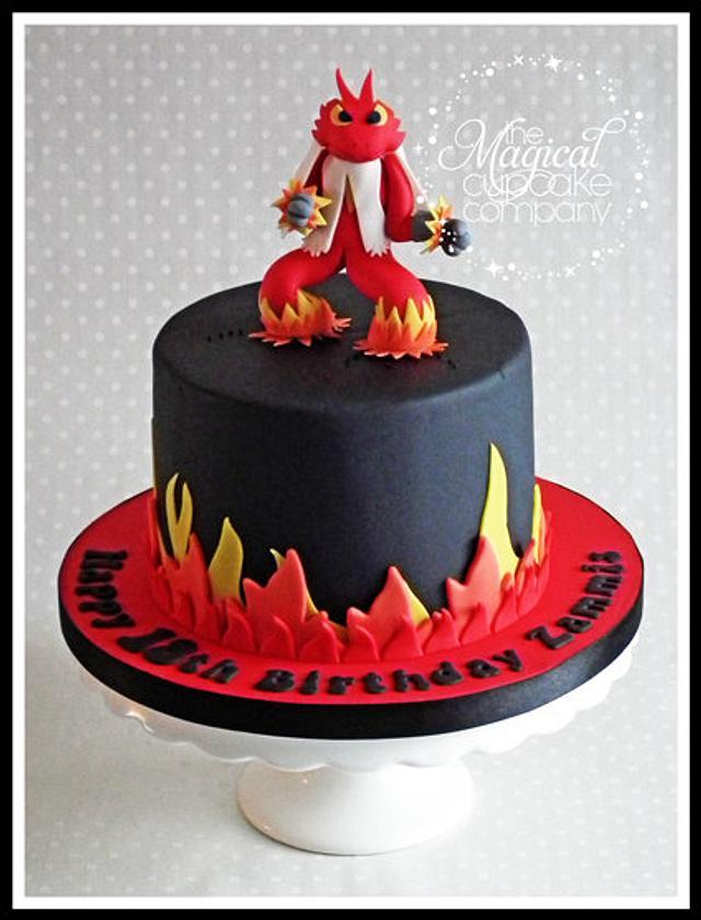 Terrific Blaziken Pokemon Birthday Cake Cake By Sam Cakesdecor Funny Birthday Cards Online Alyptdamsfinfo