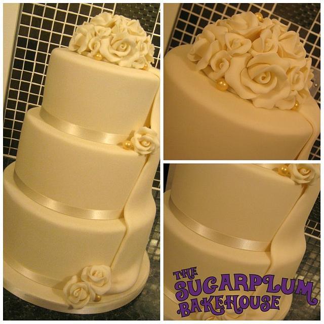 3 Tier Ivory Draped Wedding Cake