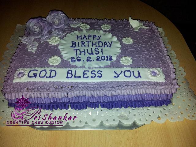 Violet Ruffles Birthday Cake