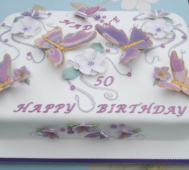 Pastel & Gold Butterflies 50th Birthday cake